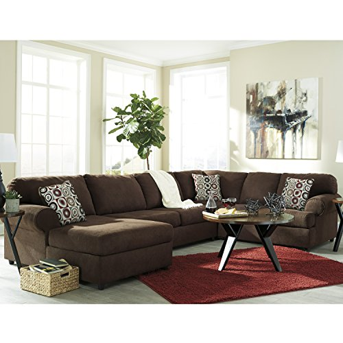 Flash Furniture Signature Design by Ashley Jayceon 3-Piece RAF Sofa Sectional in Java Fabric