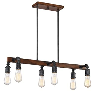 Beautiful Industrial Inspired 6-Light LED Chandelier, Bronze Faux Wood Finish