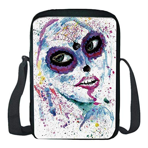 Girls Print Kids Crossbody Messenger Bag,Grunge Halloween Lady with Sugar Skull Make Up Creepy Dead Face Gothic Woman Artsy for Boys,9''H x 6''L x 2''W]()