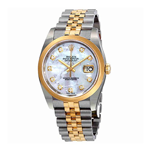 (Rolex Datejust 36 Mother of Pearl Diamond Dial Ladies Steel and 18k Yellow Gold Jubilee Watch)