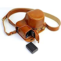Full Protection Bottom Opening Version Protective PU Leather Camera Case Bag with Tripod Design Compatible For Sony ILCE6000 a6000 with Shoulder Neck Strap Belt Brown