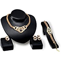 TEKIMBE Alloy Necklace Shinning Crystal 18K Gold Plated Necklace Earrings Ring Bracelet Jewelry Set