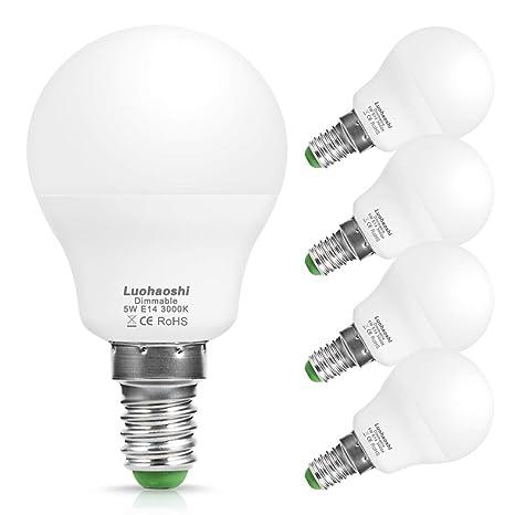 Luohaoshi E14 Bombilla LED, rosca Edison pequeña pelota de golf P45, 5W=40W