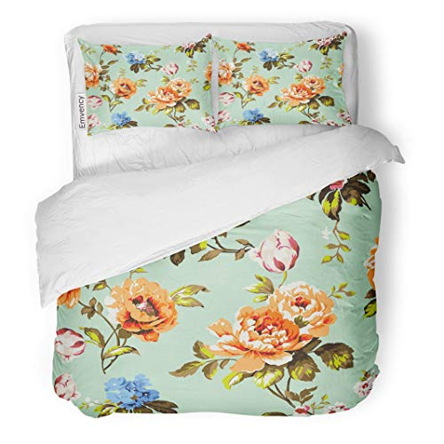 Tarolo Bedding Duvet Cover Set Blue Abstract Shabby Chic Vintage Roses Tulips and Forget Me Nots Classic Chintz Floral Raster Colorful Accent 3 Piece Queen 90