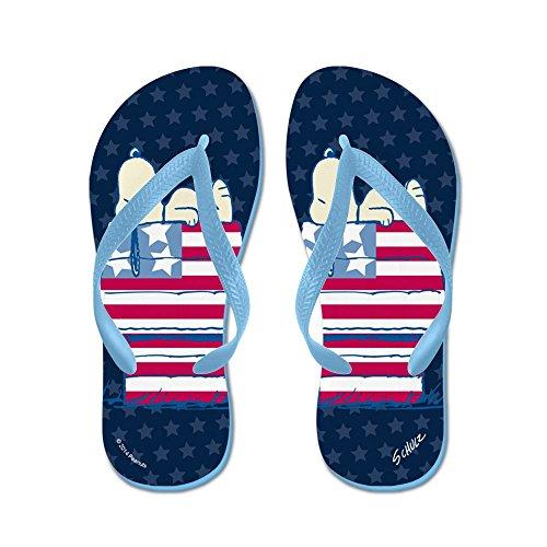 CafePress Peanuts 4Th Of July - Flip Flops, Funny Thong Sandals, Beach Sandals Caribbean Blue
