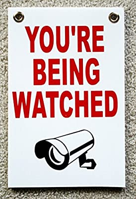 """1 Pc Effective Unique You're Being Watched Yard Signs Protection Business Post Door Hanger Video Hr Surveillance Reflective Decals Under Cameras Protected Neighbor Warning Size 8"""" x 12"""" w/ Grommets"""