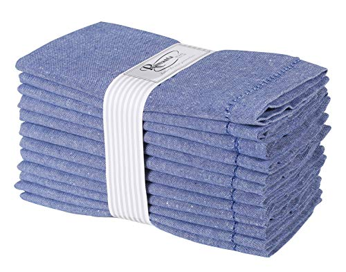 - Ramanta Home 12-Pack 100% Hemstitched Cotton Dinner Napkin Oversized 20x20 - Chambray Cloth Napkin Soft Absorbent Comfortable for Events and Daily Use - Blue