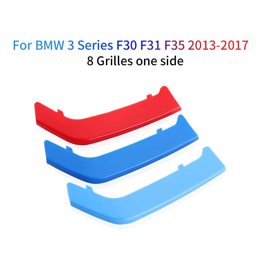For BMW 3 Series E46 316i 318i 320i 325i 328i 330i 323i 2002-2005 M Color Front Grille Grill Cover Insert Trim Clips 3Pcs 11 Grilles