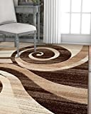 Cheap Desert Swirl Brown & Beige Modern Geometric Comfy Casual Spiral Hand Carved Area Rug 5×7 ( 5'3″ x 7'3″ ) Easy to Clean Stain Fade Resistant Contemporary Thick Soft Plush Living Dining Room Rug