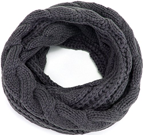 MOTINE Women's Winter Thick Ribbed Knit Warm Circle Loop Infinity Scarf (Grey)
