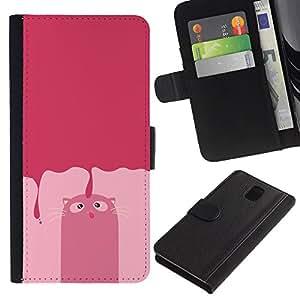 All Phone Most Case / Oferta Especial Cáscara Funda de cuero Monedero Cubierta de proteccion Caso / Wallet Case for Samsung Galaxy Note 3 III // Pink Cat Drawing Art Comic Character Feline