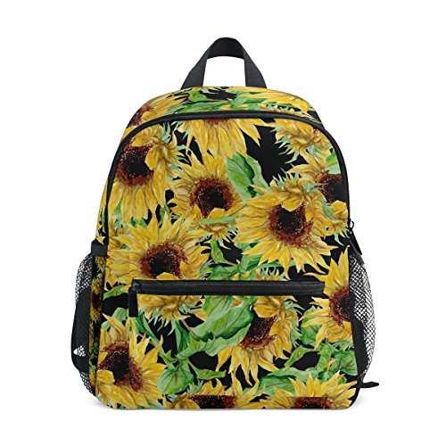 LORVIES Watercolor Sunflowers Pattern Mini Kids Backpack Pre-School Kindergarten Toddler Bag