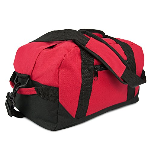 "14"" Small Duffle Bag Two Toned Gym Travel Bag in Red"
