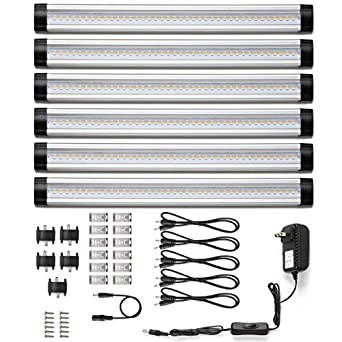 le led under cabinet lighting 6 panel kit 24w total 12 v dc 1800lm 3000k warm white 48w fluorescent tube equivalent all accessories included cabinet lighting 6