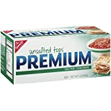 Premium Saltine Crackers, Unsalted Tops, 1 Pound Box (Pack of 12)