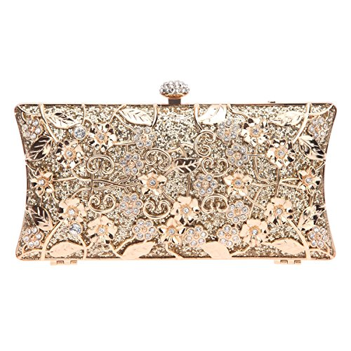 Fawziya Floral Clutch Bags For Girls Handbags Wholesale Purses-Gold