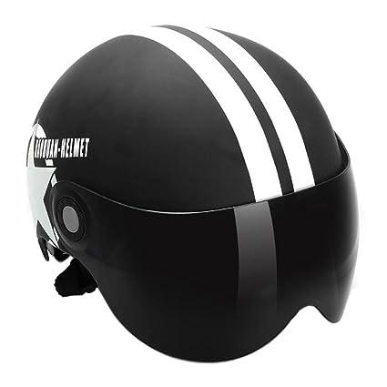 YouN - Casco de moto de media cara abierto casco estrella de cinco puntas, color