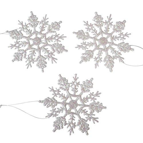 (Darice 1619-60 10-Piece Pearlized Snowflake Ornament, 4-Inch)