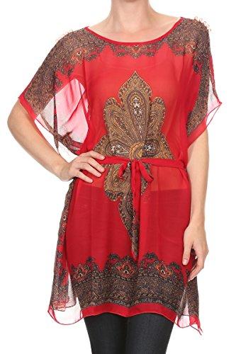 Kimono Pullover (LL Ladies Beach Tunic Cover Up Kimono Pullover Red Paisley See Through Blouse)