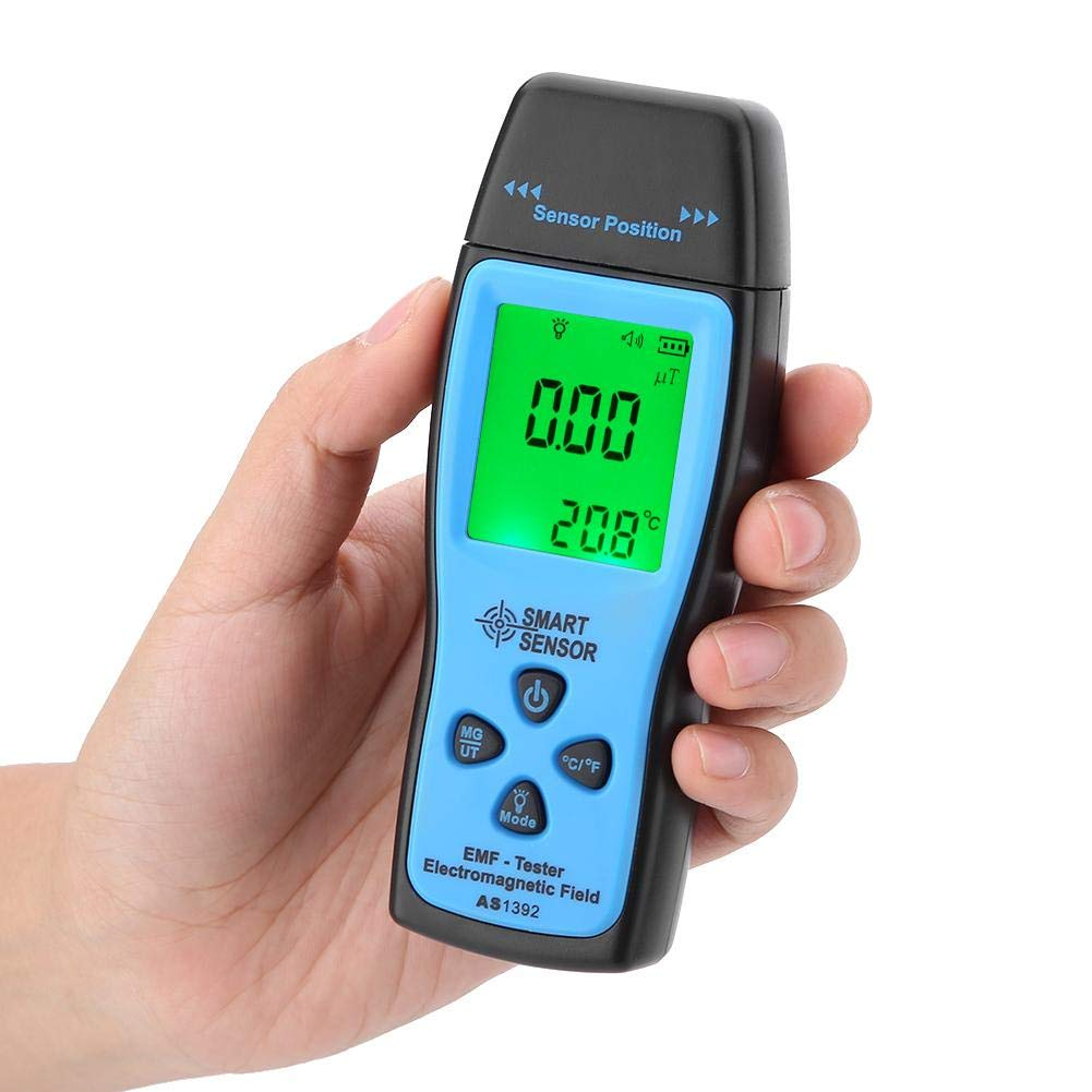 SMART SENSOR Medidor EMF Detector de Radiaci/ón de Campo Electromagn/ético para Pruebas de radiaci/ón de campo el/éctrico y magn/ético mG uT AS1392