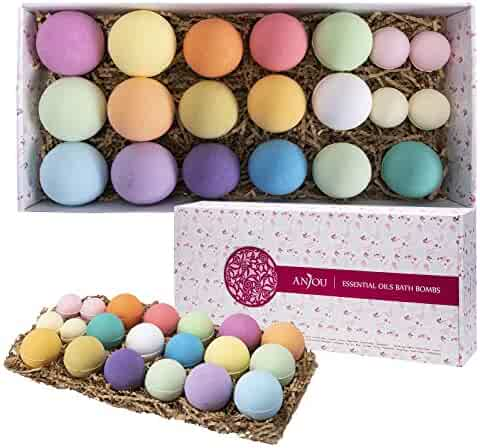 Bath Bombs Gift Set, Anjou 20 Pack Natural Essential Oils Lush Spa Bath Fizzies for Moisturizing Dry Skin, Perfect Gift Kit Ideas for Girlfriends, Women, Moms
