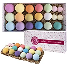 Anjou 20 Pack of Bath Bombs Gift Set, Natural Essential Oils Lush Spa Bath Fizzies for Moisturizing Dry Skin, Perfect Gift Kit Ideas for Girlfriends, Women, Moms