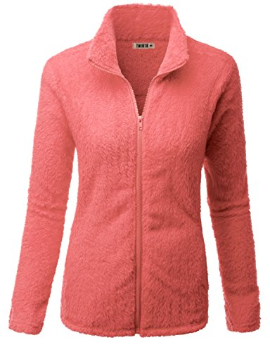 Doublju Womens Simple Design Full-Zip Long Sleeve Big Size Fleece Outer CORAL,XL