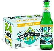 H2OPS Hop Water Mango (Zero Alcohol - Zero Calorie) 12 oz Glass Bottles, 24 Count Sparkling