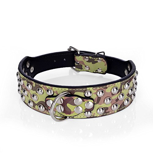 Rachel Pet Products 3 Rows Silver Rivets Studded Genuine Leather Dog Collars for Medium/Large Dogs, Green, L - Faux Suede Dog Collar