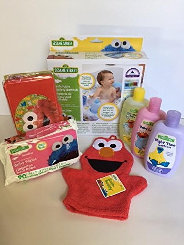Sesame Street Inflatable Safety Bathtub Baby Shower Bath Wash Shampoo Lotion Wipes Gift Set Bundle 7 pc