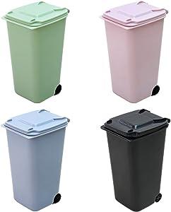 TOYMYTOY 4Pack Mini Wastebasket Set,Desk Trash Can with Lid Desktop Garbage Organizer Storage Bin Pen Pencil Cup Holder Office Supplies