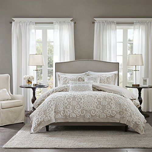 (Harbor House Suzanna Duvet Cover King Size - Taupe , Medallion Duvet Cover Set - 3 Piece - Cotton Light Weight Bed Comforter Covers)