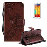Funyye Strap Leather Cover for Samsung Galaxy J5 2016,Brown Creative Pattern Design Magnetic Flip Folio Soft Silicone PU Leather Protective Case for Samsung Galaxy J510,Stylish Multi functional Folder Wallet with Stand Credit Card Holder Slots Cover for Samsung Galaxy J5 2016/J510 + 1 x Free Screen Protector