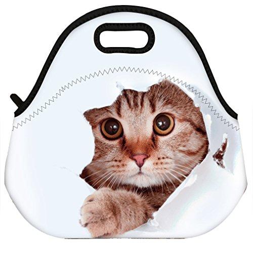 VIPbuy Waterproof 3D Cute Cat Animal Design Women Men Kids Thermal Insulated Neoprene Lunch Bag Tote for School Work Outdoor ()
