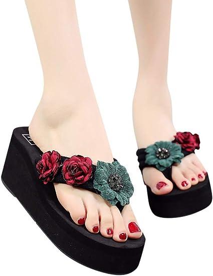 Shoes Women Sandal Slippers Beach Open Toe Casual Popular EVA Black//Red Summer
