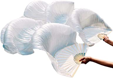 BEST QUALITY PAIRS 1.5M BELLY DANCE 100/% SILK FAN VEILS FREE SHIPPING 33