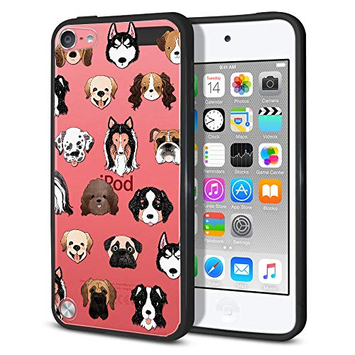 FINCIBO Case Compatible with Apple iPod Touch 5 6th Generation, Slim Shock Absorbing TPU Bumper + Clear Hard Protective Case Cover for iPod Touch 5 6 - Dog Faces (Dog Ipod Apple)