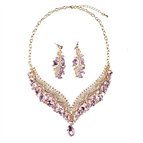 [Girl Era Shining Pink Austrian Crystal V Style Bridal Prom Charm Queen Necklace Earrings Jewelry] (Costumes Jewelry Online)