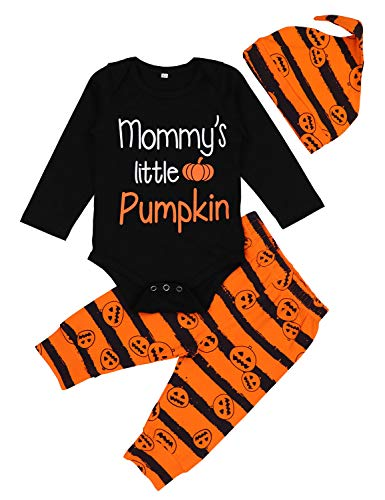 Baby Halloween Outfit Girl Boy Mommy's Little Pumpkin Print Romper+Pants+Hat 6-12 Months