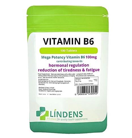 Lindens Vitamina B6 100mg 2-PACQUETE 1 / día 200 tabletas B-6 B