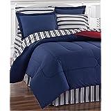 Red & Blue Nautical Stripe Patriotic Reversible California CAL King Comforter (8 Piece Bed In Bag) + BONUS HOMEMADE WAX MELT!