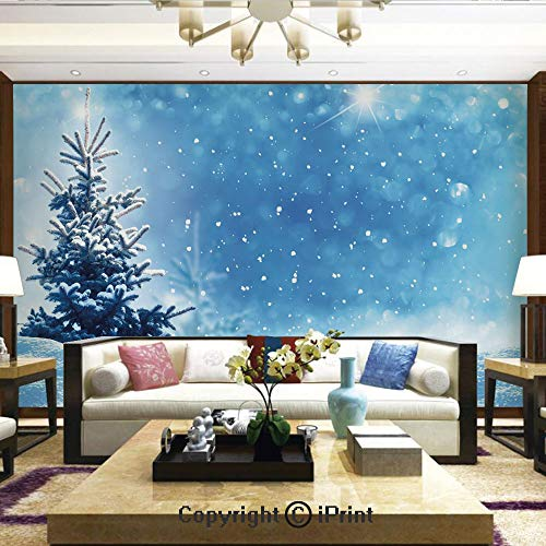 Lionpapa_mural Removable Wall Mural Ideal to Decorate Your Dining Room,Artistic Rendition of Snowy Season of Year Frozen Pine Tree Snowflakes Falling Down Decorative,Home Decor - 100x144 inches ()