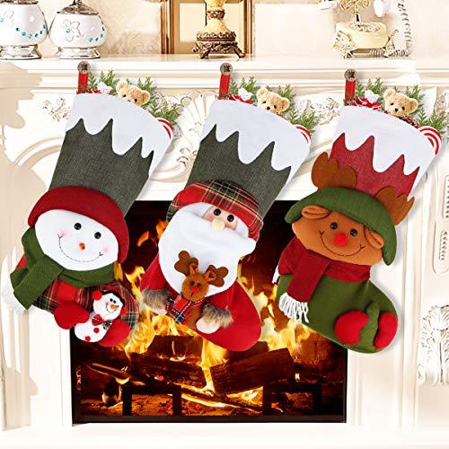 Aiduy Set of 3 Christmas Stockings Decoration with Cute 3D Plush Santa Snowman Reindeer Xmas Stockings for Christmas Decorations Gifts and Family Holiday Decor, 18 Inch