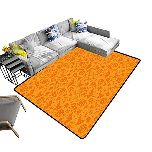 Non Slip Absorbent Carpet Traditi al Halloween Themed Objects Celebrati Day Orange No Chemical Odor 6' X 9' -