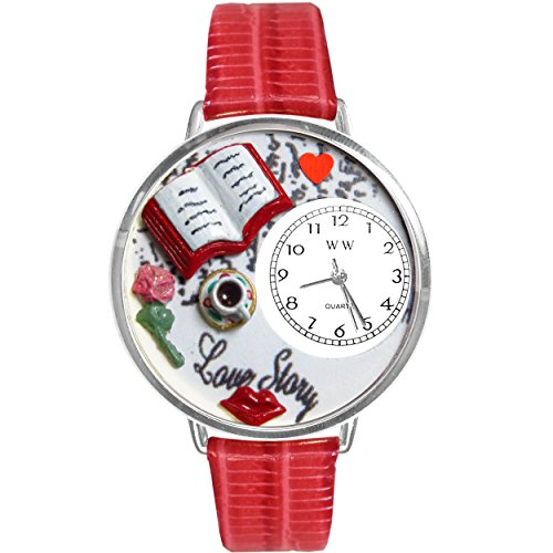 Love Story Red Leather And Silvertone Watch #WG-U0460003 by Whimsical Watches