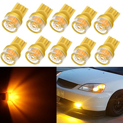 Alla Lighting 10pcs 2W High Power Super Bright 194 168 2825 175 W5W LED Bulbs - Amber Yellow Miniature T10 Wedge LED SMD Lights