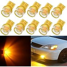 Alla Lighting 10pcs 2W High Power Super Bright 194 168 2825 175 W5W LED Bulbs - Amber Yellow Miniature T10 Wedge LED SMD Lights