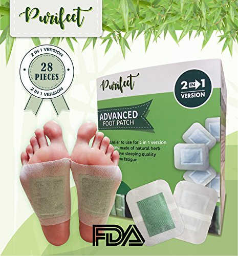 PURIFEET Advanced 2 IN 1 Foot Pads, FDA Certified to Relieve Stress and Improve Sleep, 2018 NEW VERSION with 28 packs (Foot Purify Patch)