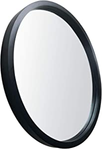JIYUERLTD Round Mirrors 24inch Wall Mirrors Decorative Wood Frame Morden Mirrors for Bathroom Entryways Living Rooms and More. (Black)