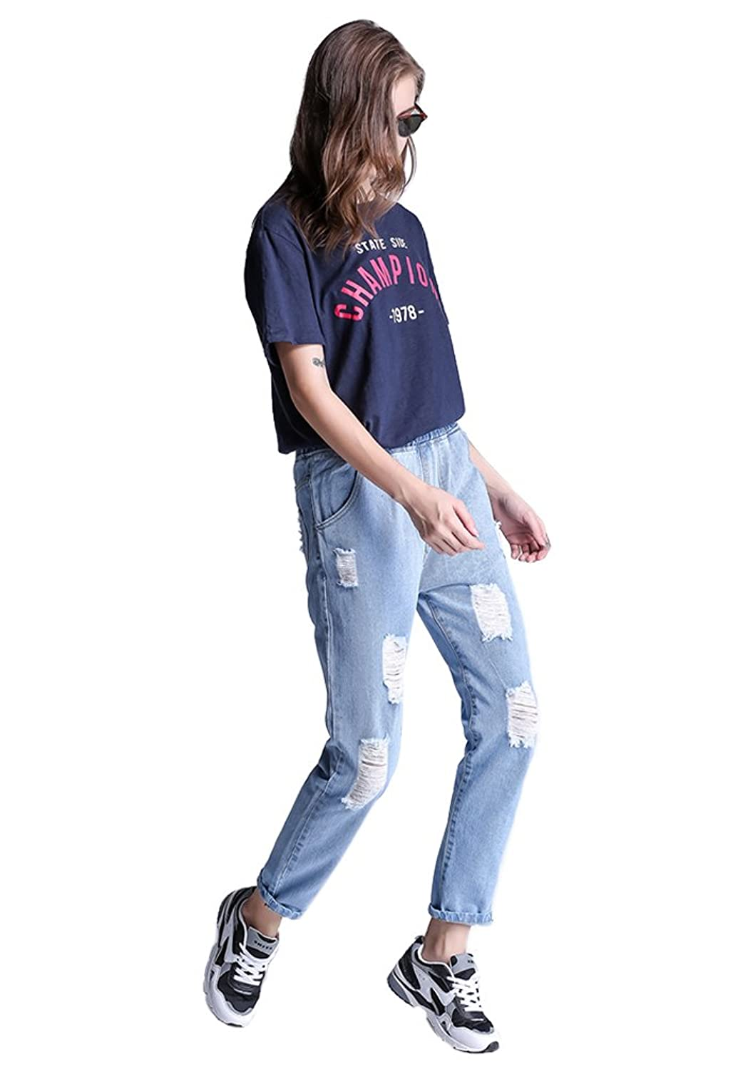 DOOXIUNDI Women's Destructed Boyfriend Loose Jeans in Blue